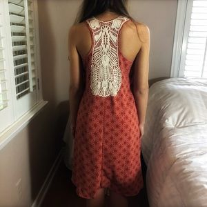 2 LEFT XS & S Boho Chic Embroidered Coral Dress